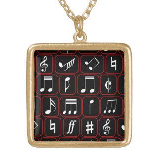 Notas musicales modernas en blanco con la frontera collar personalizado