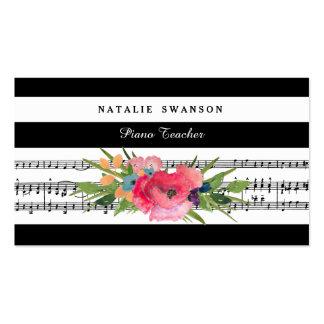 Notas musicales modernas florales elegantes del tarjetas de visita