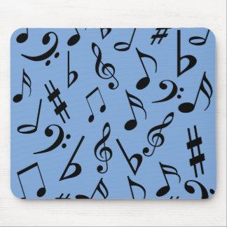 Notas musicales Mousepad - azul y negro de cielo Tapetes De Raton