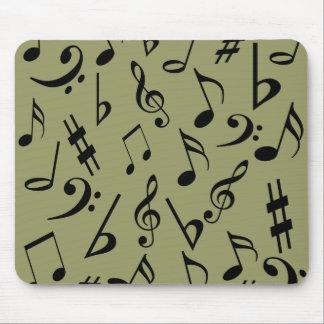 Notas musicales Mousepad - verde verde oliva