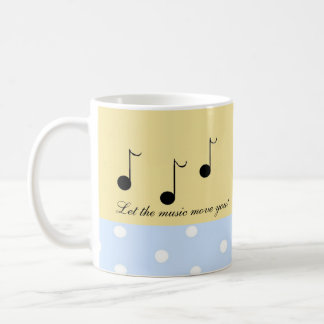 Notas musicales negras con refranes musicales taza de café