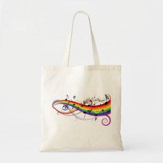 Notas musicales negras del arco iris bolsa tela barata