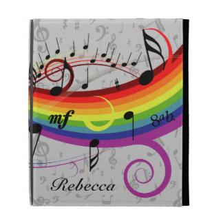 Notas musicales negras del arco iris sobre gris