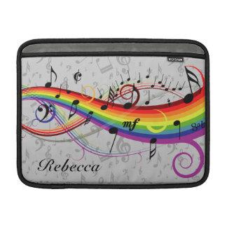 Notas musicales negras del arco iris sobre gris fundas para macbook air
