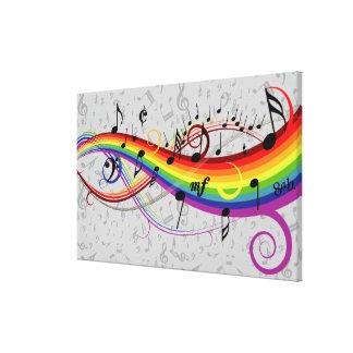 Notas musicales negras del arco iris sobre gris impresiones en lona estiradas