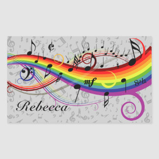 Notas musicales negras del arco iris sobre gris rectangular pegatinas