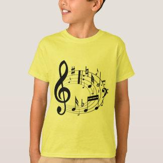 Notas musicales negras en forma oval playera