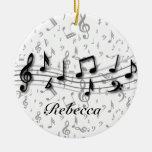 Notas musicales negras y grises personalizadas adorno para reyes
