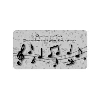 Notas musicales negras y grises personalizadas etiquetas de dirección