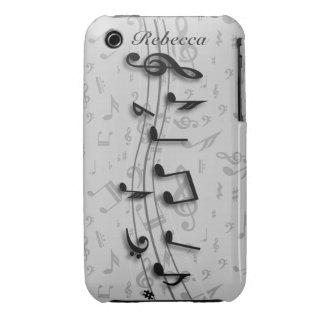 Notas musicales negras y grises personalizadas iPhone 3 carcasas