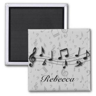 Notas musicales negras y grises personalizadas imán