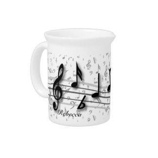 Notas musicales negras y grises personalizadas jarra