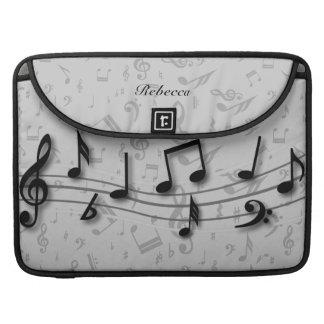 Notas musicales negras y grises personalizadas funda macbook pro