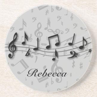 Notas musicales negras y grises personalizadas posavasos diseño