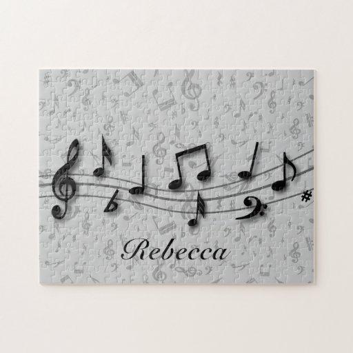 Notas musicales negras y grises personalizadas puzzles con fotos