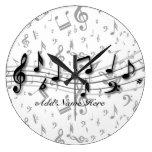 Notas musicales negras y grises personalizadas reloj de pared