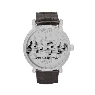 Notas musicales negras y grises personalizadas reloj de mano