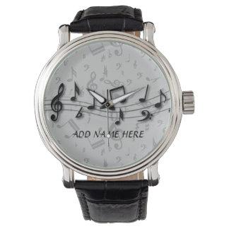 Notas musicales negras y grises personalizadas relojes
