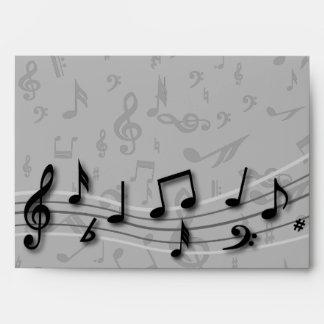 Notas musicales negras y grises personalizadas sobre
