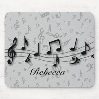 Notas musicales negras y grises personalizadas alfombrilla de ratones