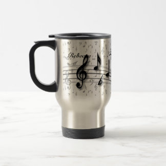 Notas musicales negras y grises personalizadas taza de viaje de acero inoxidable