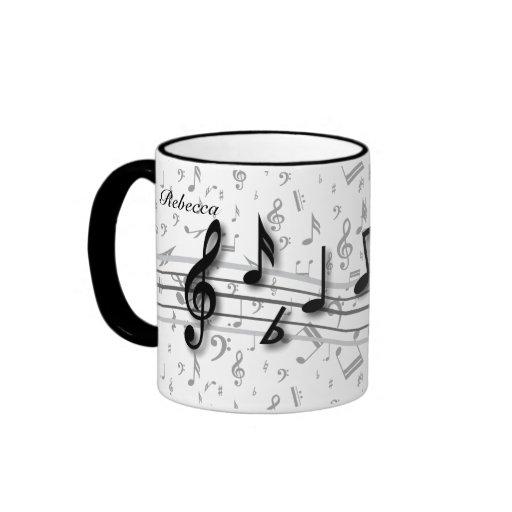Notas musicales negras y grises personalizadas taza de dos colores