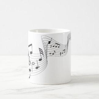 Notas musicales - negro/blanco taza Morphing de 11