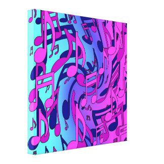 Notas musicales optimistas animadas de la música impresión en lienzo estirada