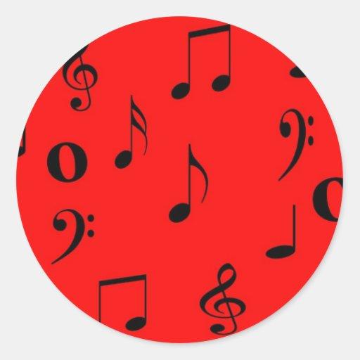 Notas musicales pegatina redonda