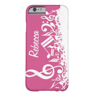 Notas musicales personalizadas rosas fuertes y funda de iPhone 6 barely there