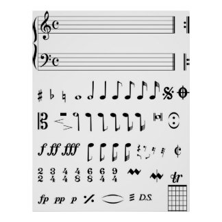 Notas musicales póster