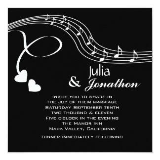 Notas musicales que casan la invitación