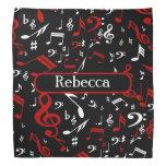 Notas musicales rojas y blancas elegantes sobre
