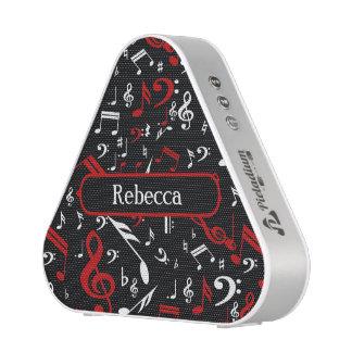 Notas musicales rojas y blancas elegantes sobre altavoz
