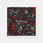 Notas musicales rojas y blancas elegantes sobre servilleta de papel