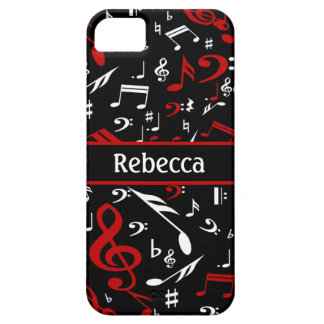 Notas musicales rojas y blancas personalizadas iPhone 5 fundas