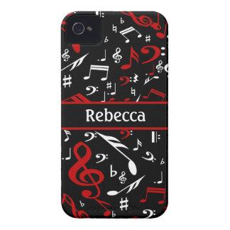 Notas musicales rojas y blancas personalizadas iPhone 4 protector