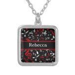 Notas musicales rojas y blancas personalizadas sob joyerias personalizadas