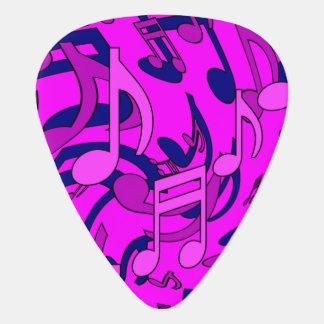 Notas musicales rosadas magentas de la música del plectro