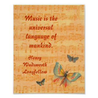 Notas musicales sobre el personal con las mariposa poster