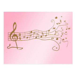 NOTAS MUSICALES SOBRE PENTAGRAM DE LA DIVERSIÓN - TARJETA POSTAL