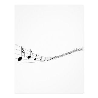 Notas musicales sobre un bastón formado onda membrete personalizado
