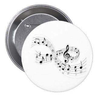 Notas musicales sobre una línea de personal botón pin redondo de 3 pulgadas