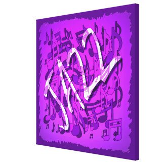 Notas musicales violetas púrpuras de la música de impresiones en lona