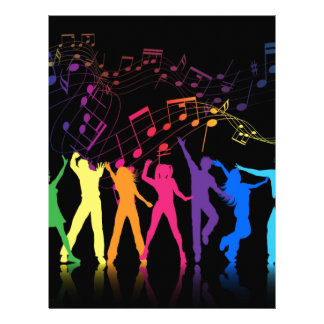 Notas musicales y bailarines coloridos membrete