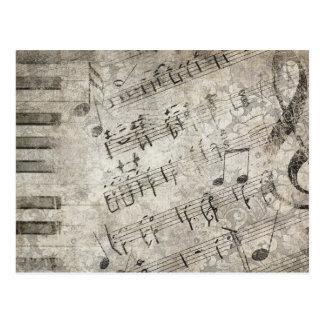 Notas musicales y diseño antiguos de las llaves tarjetas postales