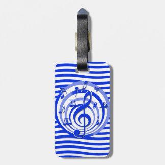 Notas musicales y diseño elegantes de las rayas etiquetas bolsa