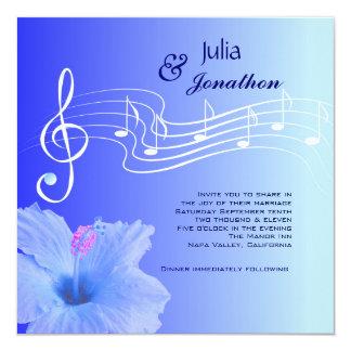 Notas musicales y invitación del boda del hibisco
