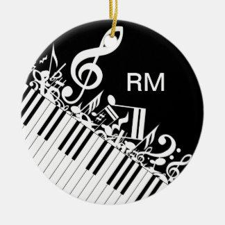 Notas musicales y llaves embarulladas adorno navideño redondo de cerámica