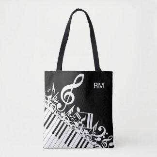 Notas musicales y llaves embarulladas bolsa de tela